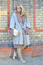 heather gray Missoni coat - beige Chanel bag - silver acne blouse