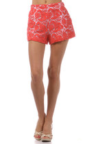 Coral Crochet Lace Shorts