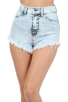 LIGHT BLUE HIGH WAISTED STONE WASH DENIM SHORTS