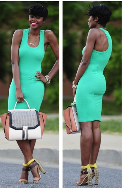 BCBG dress - BCBG bag - Zara sandals
