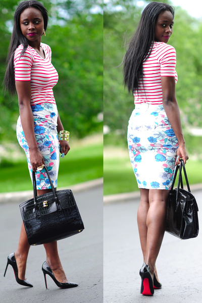 H&M skirt - H&M shirt - Aldo purse - Christian Louboutin pumps