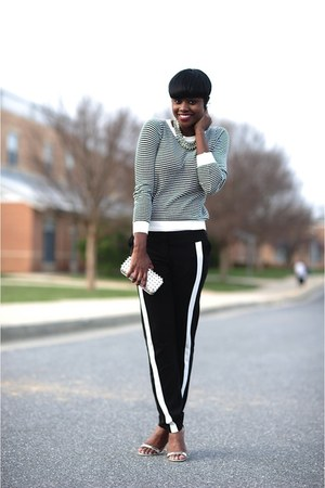 H&M necklace - Forever21 sweater - Forever 21 purse - asos pants - asos sandals