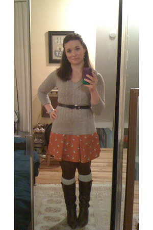 silver Gap socks - dark brown unknown boots - carrot orange lulus dress