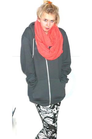 orange American Apparel scarf - gray American Apparel jacket - white H&M legging