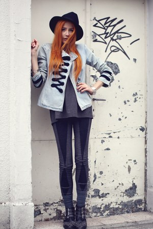 sky blue denim no name jacket - black Reporter hat - charcoal gray KLU leggings