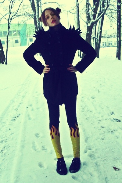 black SequinShoes shoes - black DIY coat - yellow DIY pants