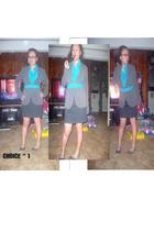 gray skirt - gray shoes - blue blouse - blue earrings