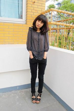 Topshop blouse - Topshop jeans - black Jeffrey Campbell shoes