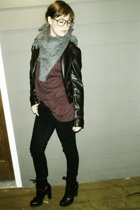 ATK scarf - FCUK jacket - American Apparel t-shirt - Wet Seal jeans - Guess boot
