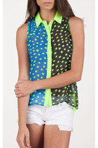 Neon Yellow Polka Dot Button Down Tank Top