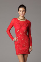 Lace and Mesh Red Party Dress