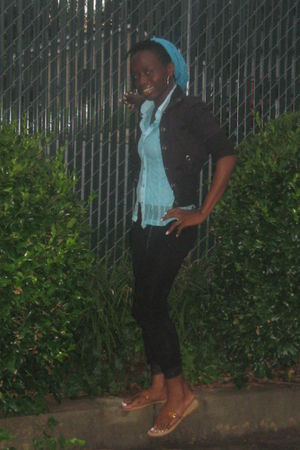 black jacket - blue blouse - blue - black leggings - brown