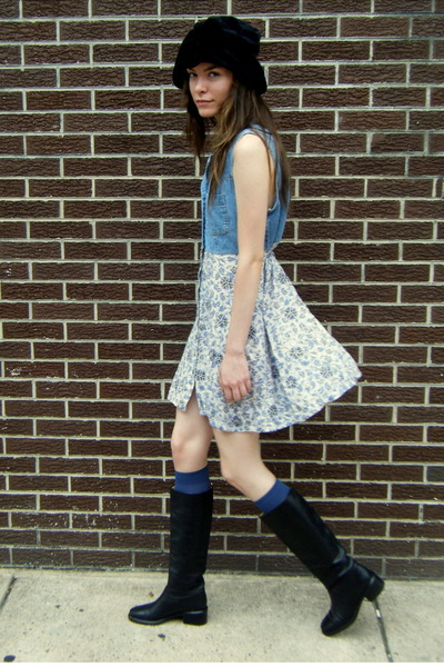 denim some velvet vintage dress