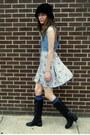 Denim-some-velvet-vintage-dress