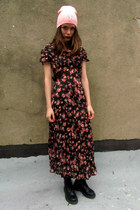 black floral some velvet vintage dress