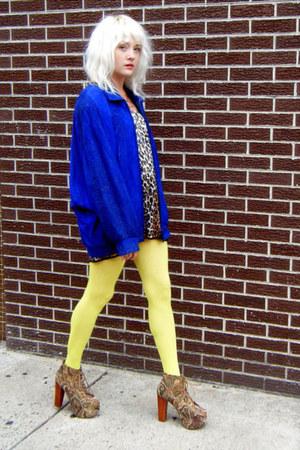 blue leather some velvet vintage jacket