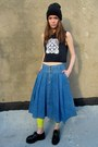 Blue-denim-some-velvet-vintage-skirt