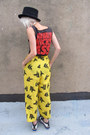 Yellow-abstract-some-velvet-vintage-pants