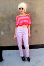 Black-creepers-oasap-shoes-light-pink-pink-some-velvet-vintage-jeans