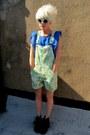 Lime-green-floral-some-velvet-vintage-shorts