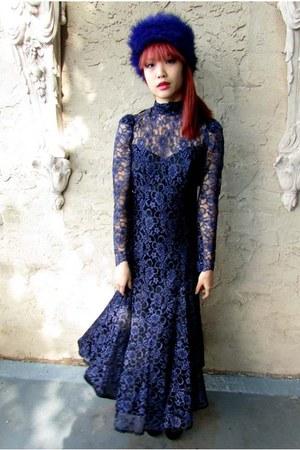 navy lace some velvet vintage dress