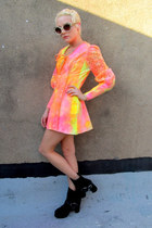 hot pink neon some velvet vintage dress