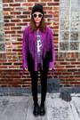 Purple-leather-bob-mackie-jacket