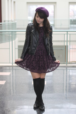 deep purple Forever21 dress - black H&M jacket