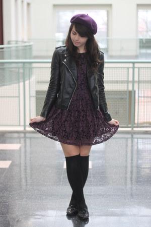 deep purple Forever21 dress - black H&M jacket