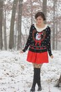 black Target sweater - red modcloh dress - black OASAP tights