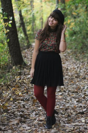 black H&amp;M boots - brick red Target tights - army green Forever21 blouse