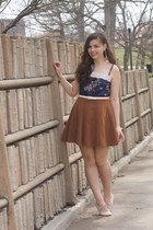 navy vintage intimate - light brown Forever 21 skirt - light pink thrifted flats