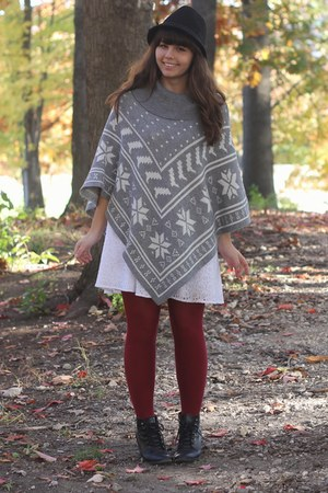 black H&M boots - white Delias dress - black Target hat - silver Forever21 cape