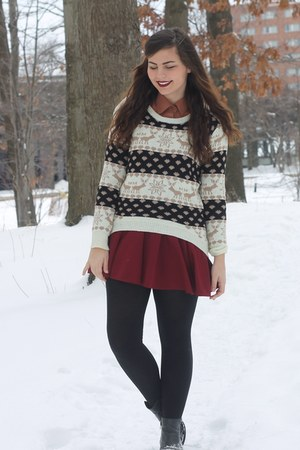camel chicnova sweater - black thrifted boots - brick red OASAP skirt