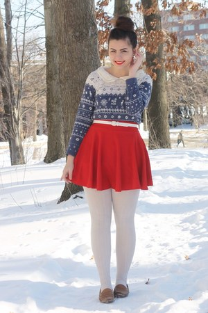 navy OASAP shirt - red OASAP skirt - light brown thrifted loafers