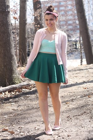 light pink thrifted cardigan - green OASAP skirt - aquamarine f21 top
