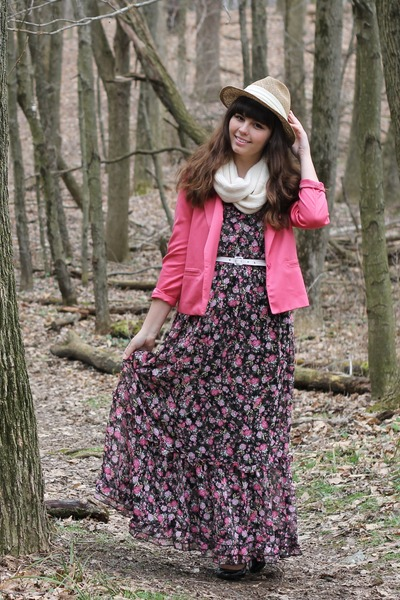 black kohls dress - tan thrifted hat - bubble gum thrifted blazer