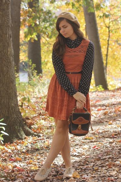 burnt orange Fig Leaf dress - tan American Apparel hat - navy thrifted blouse
