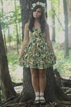 dark green Forever21 dress - dark brown thrifted wedges