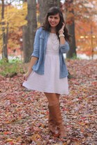 brown Old Navy boots - white Delias dress - sky blue Target shirt