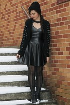 black leather LuLus dress - black LuLus tights - black knitted LuLus cardigan