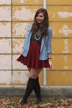 crimson OASAP skirt - black pink and pepper flats - periwinkle Target top