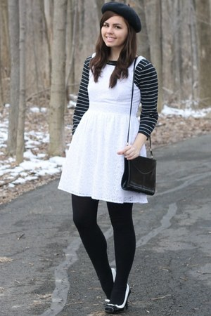 white delias dress - black thrifted shirt
