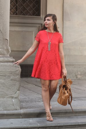 light brown Forever21 bag - red OASAP dress - light brown TJ Maxx sandals