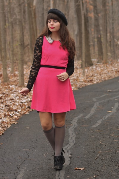 hot pink lulus dress - black thrifted dress