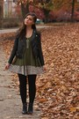 Black-h-m-boots-black-h-m-jacket-army-green-lulus-shirt-tan-thrifted-skirt