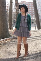 bronze Old Navy boots - heather gray modcloth dress