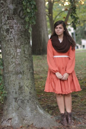 dark brown pink and pepper boots - carrot orange modcloth dress