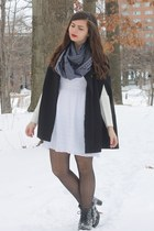 black H&M boots - white delias dress - black OASAP tights