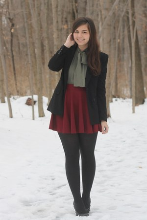 black Forever21 jacket - army green thrifted blouse - crimson OASAP skirt